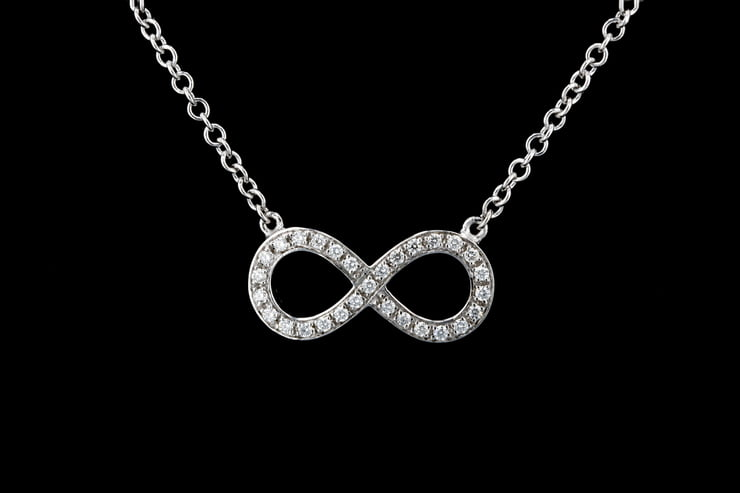 Pave' Diamond Figure Eight Infinity Necklace
