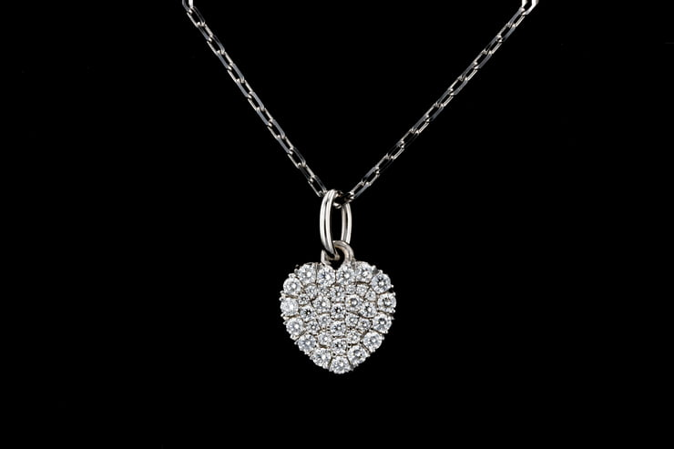 Pave' Set Diamond Heart Necklace