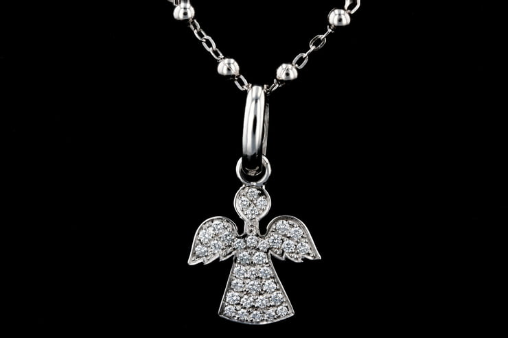 White Gold Pave' Angel Pendant