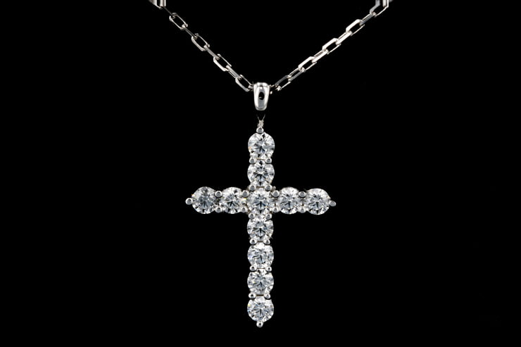 White Gold Medium Diamond Cross