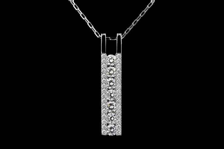 Round Brilliant Channel & Pave' Set Diamond Bar Pendant