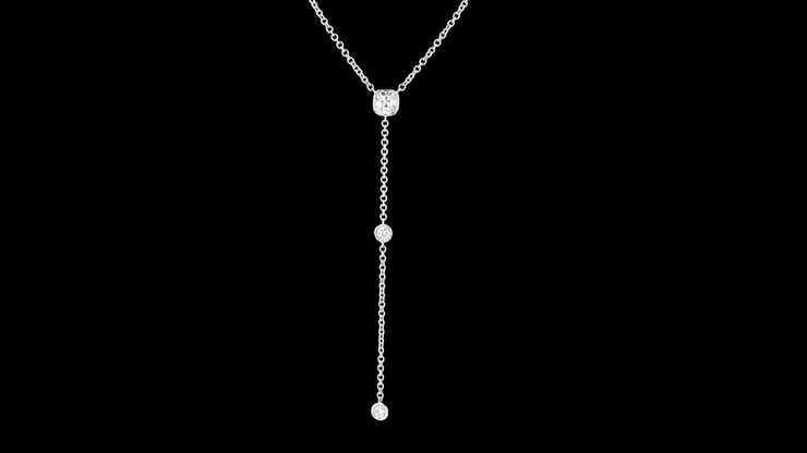White Gold Lariat Necklace with Cushion Cut Diamond Pendant