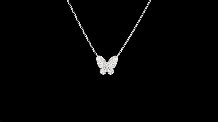 Small Pave' Set Diamond Butterfly Pendant