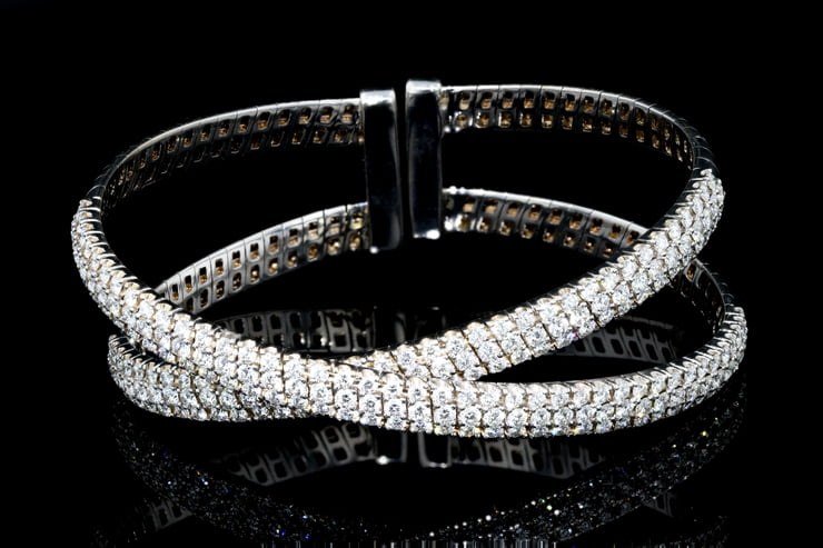 Criss Cross Pave' Diamond Cuff