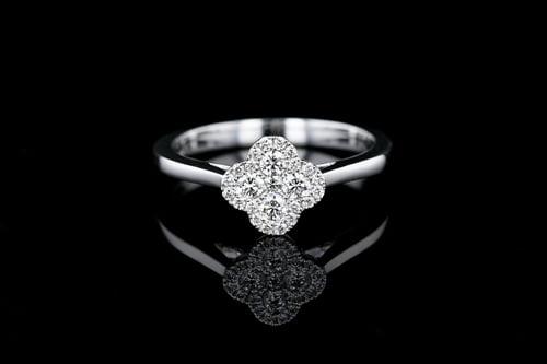 Pave' Diamond Clover Ring