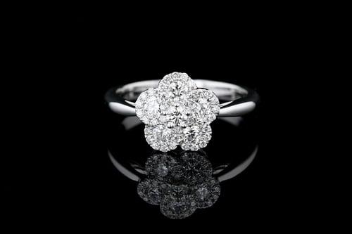 Pave' Diamond Flower Ring