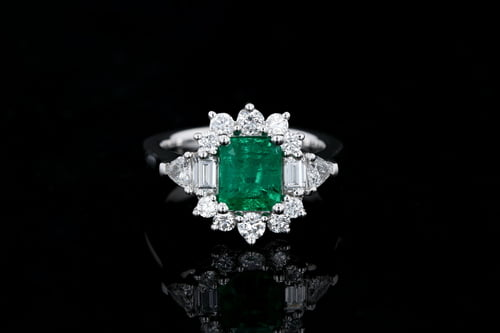 Colored Gems Emerald Cut Emerald Cocktail Ring