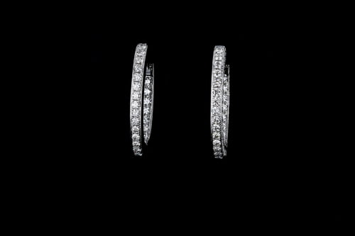 Oval Inside Out Diamond Earrings, 3-Sided