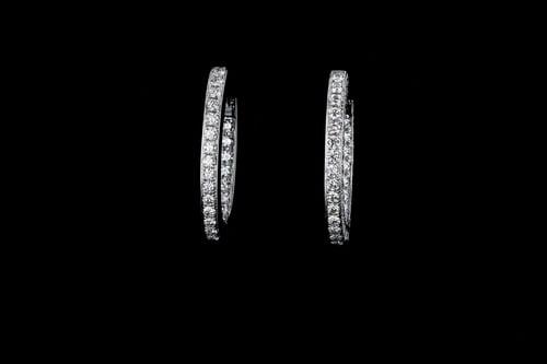 Oval Inside Out Diamond Earrings, 3-Sided