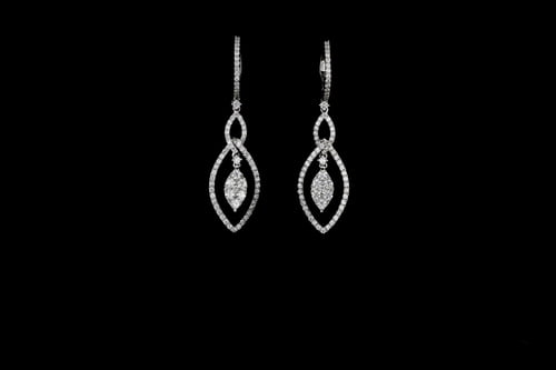Dangling Diamond Earrings, Marquise Shaped