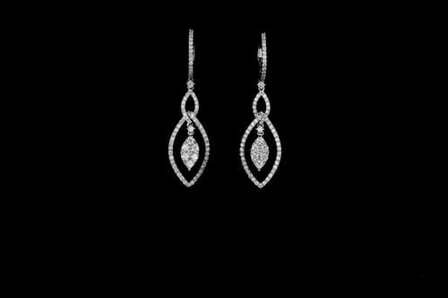 Dangling Diamond Earrings, Marquise Shaped