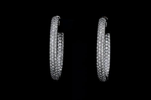 Oval Inside Out Diamond Earrings