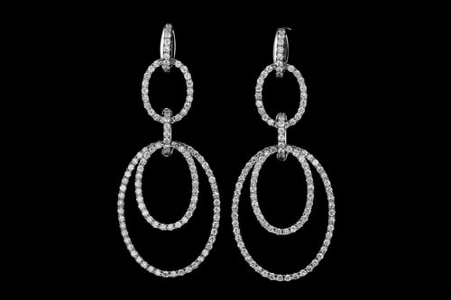 Oval Dangling Pave' Diamond Earrings