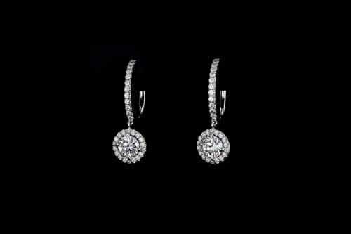 Halo Set Round Diamond Earrings Dangling