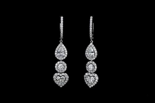 Dangling Pear, Heart & Round Diamond Hoop Earrings