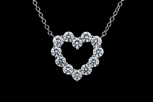 Classic Heart-Shaped Diamond Pendant Necklace
