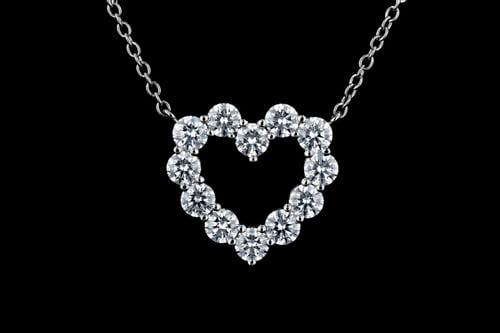 Classic Heart-Shaped Diamond Pendant Necklace