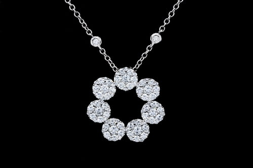 Open Circle Halo Diamond Necklace