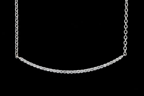 Curved Pave' Diamond Bar Necklace