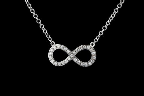 Pave' Diamond Figure Eight Infinity Necklace