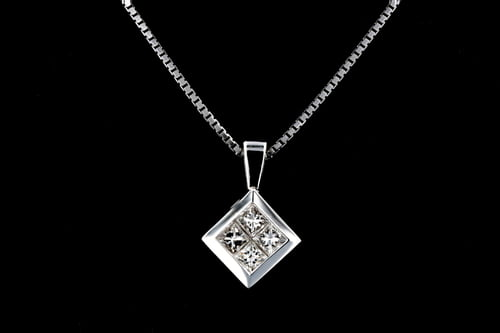 Square Princess Diamond Pendant