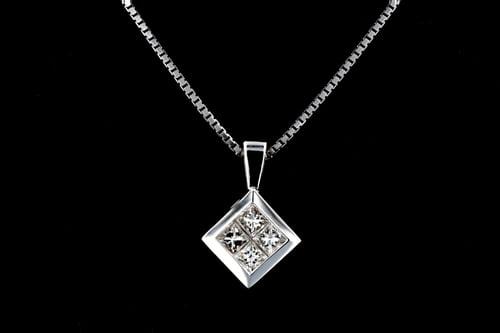 Square Princess Diamond Pendant