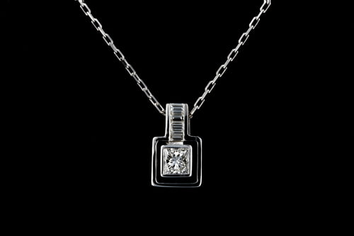 Princess Cut Diamond Pendant with Baguette Bail