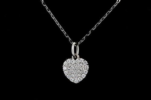 Pave' Set Diamond Heart Necklace