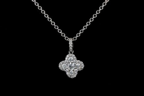 Small Pave' Diamond Clover Pendant