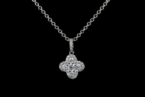 Large Pave' Diamond Clover Pendant