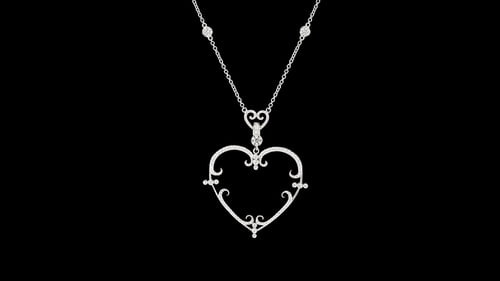 Filigree Pave' Diamond Heart Necklace