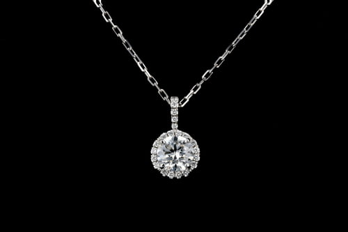 Round Pave' Diamond Halo Necklace