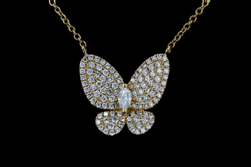 Pave' Diamond Butterfly Pendant on Yellow Gold Chain