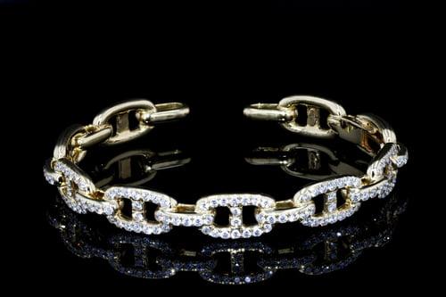 Pave' Open Link Diamond Cuff
