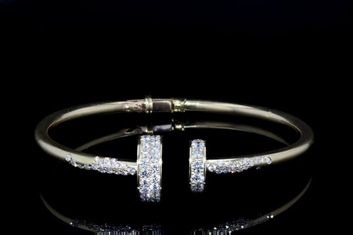 Pave' Diamond Disc Cuff Bangle