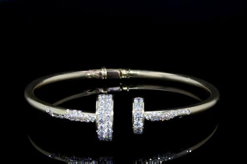 Pave' Diamond Disc Cuff Bangle