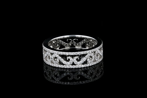 Filigree Pave' Diamond Eternity Band