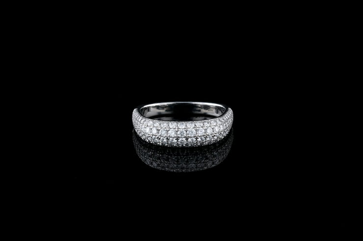 4 Row Tapered Pave' Diamond Band