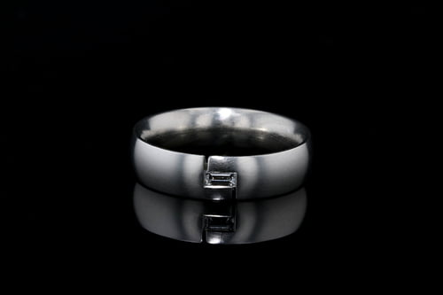 Low Dome Matte Band, Channel Set Baguette Diamond