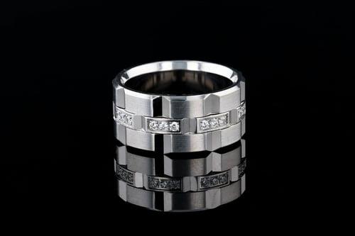 11mm Wide Rectangular 3 Pave' Diamond Band