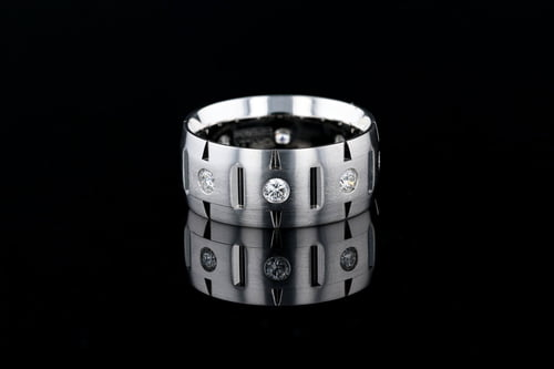 Low Dome Etched Band, Bezel Set Diamonds
