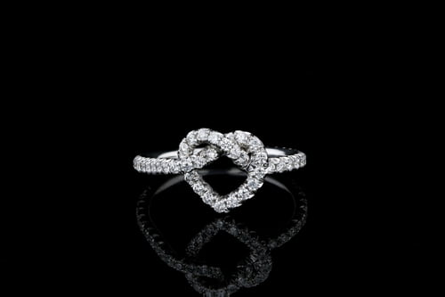 Heart Love Knot Diamond Band Half Way Around