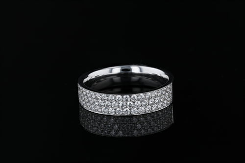 3 Row Pave' Set Diamond Band