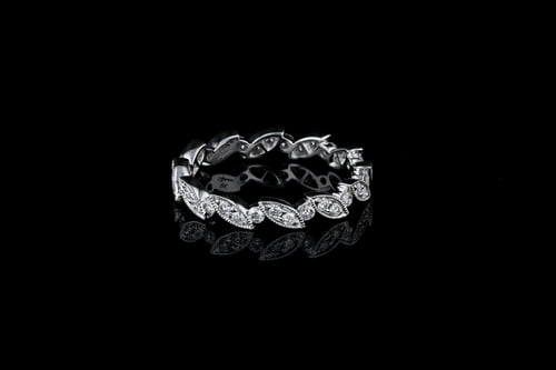 Pave' Diamond Leaf Shaped Wedding Band