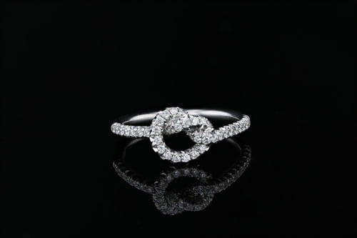 Pave' Love Knot French Pave' Eternity Band