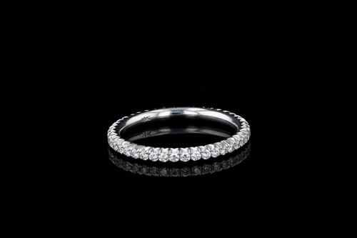 Pave' French Pave' Set Wedding Band