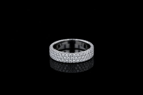 3 Sided 3 Row Pave' Diamond Band