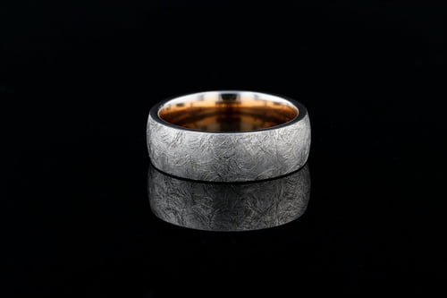 18k White Gold Low Dome Band, Bark Finish