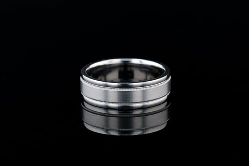 7mm Wide Band, Matte Center, Milgrain Edges